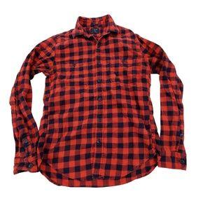 J Crew Flannel S Slim Red Mens Button Down Blue Bu